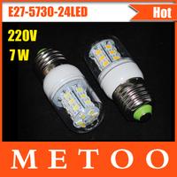 E27 SMD 5730 LED lamps 220V 24 leds 7W led bulb light, Warm White /Cool White NEW Chip 5730 lantern Dropshipping