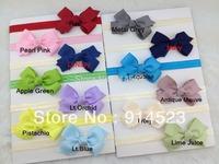 20 COLORS,100pcs/lot,elastic ribbon with bows,bow headband,lace headband,