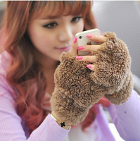 2014 Fashion Style Ladies Fluffy Bear/Cat Plush Paw/Claw gloves Knitted Fingerless Faux Rabbit Fur Mittens Gloves FS026