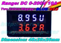 Dual display Meter Red Blue LED DC 0-200V/10A Car E-Bikes Motorcycle DC Amp Meter Volt Gauge Voltmeter Ampere 2 in 1 Panel Meter