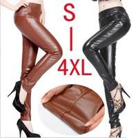 2013 plus size clothing slim elastic long patchwork faux leather pants dy-f509