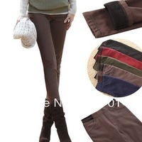 2013 autumn and winter plus size pants slim mid waist elastic plus velvet thickening legging