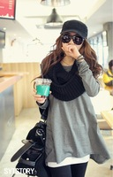 New arrival 2013 autumn plus size clothing solid color irregular t-shirt female long-sleeve loose school wear