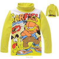 For 2-7 Years Baby Boys Garfield Long Sleeve Cartoon Bottoming Children Turtleneck Autumn Winter Blouse Clothing Kids Tee Shirts
