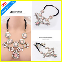 Wholesale A00003 Fashion Unique Europe Party Cherry Flower Choker Necklace Statement Jewelry Women