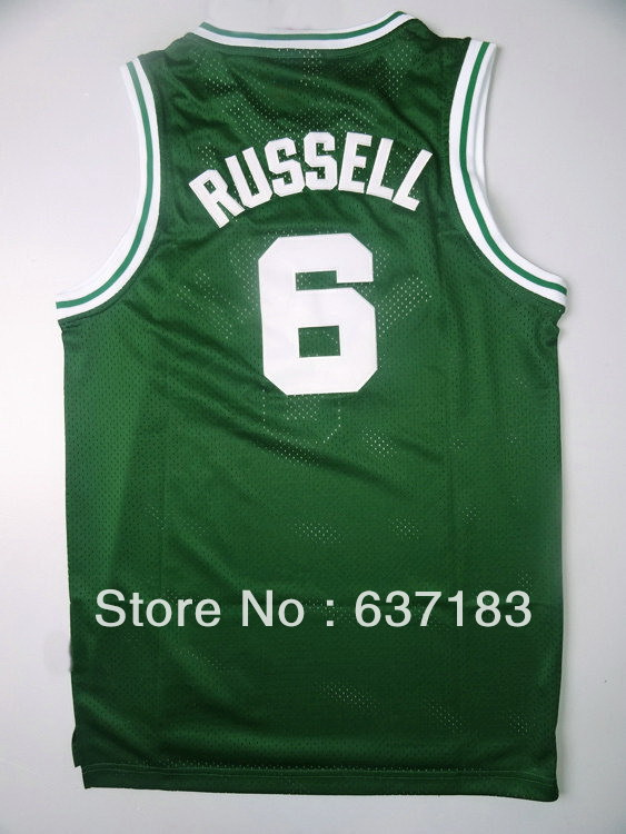 Mens Cheap #6 Bill Russell Green Home Sports Jersey,Wholesale 2013 Boston High Quality Mesh Basketball Shirt,Stitched(China (Mainland))