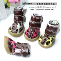 2014 fashion Cow muscle outsole leopard print pet shoes warm boots shoes rain boots snow boots teddy autumn and winter for pet