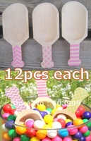36  - 3 Inch Natural Wood Scoops Pink Chevron, Stripes and Dots,  Bath Salt Scoop, Candy Bar  Hand Stamped Polka Dot Pattern