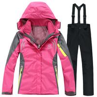 2014 new Women's two pieces sport suit,female outdoor  ladies' winter ski snow suit,hoodie jacket,strap pants Wind&Water-proof