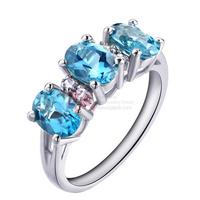 LQ Sterling 925 Silver Ring Set Natural Blue Topaz 18K White Gold Overlay Rings for Women Wedding band Natural Stone Ring