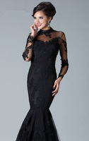 2013 New Arrival Dress Black Dress High Sheer Neckline Full Sleeves Evening Long Dress Formal