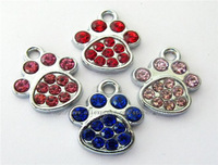 50pcs Mix Color Foot Print / Paw Hang Charms Fit Pet Dog Cat Tag Collar Wristband