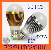 X20 9w LED bulb,Dimmable Bubble Ball Bulb AC85-265V, E27/E14/B22/GU10,silver/gold shell color,warm/cool white,free shipping