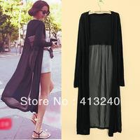 Womens Lightweight Stitching Sheer Gauze Knitting Long Maxi Cardigan Sun protection clothing Black / White o