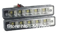 Free shipping Top quality car lights 5leds 5050 SMD 5w white  LED DRL day time running light with E4 RL00 2pcs/lot