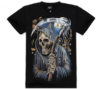 The hades factor skull print 3d pattern black color punk style rock n roll man brand mma t-shirts summer free shipping