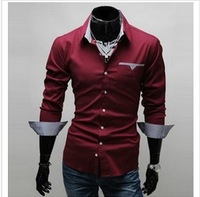 Free Shipping 2013 New Design Fashion Mens Shirts Casual Slim Fit Stylish Dress Shirts 3 colors Size:M~3XL W693