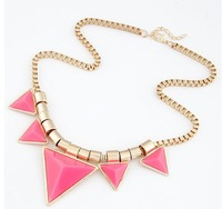 Wholesale Jewelry(12pieces/lot) Fashion Tide Mashup Metal Acryl Triangle Chains Necklace
