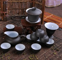 14pcs / set YIXING purple clay Tea set, purple grit teapot, tea cups ,lucky tea villa Free shipping!!!