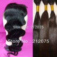 "MIX Lenght 10-24""inch Brazilian Virgin Hair 1pcs Lace Top Closure 4x3.5""+3pcs Bulk straight hair  can be dyed 4pcs/lot"