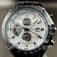 watches men brand CURREN Men curren watches men Stylish White Steel Watch with Three Subdails