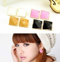 fashionable cool christmas gifts rhombus shaped stud earrings for women ear studs free shipping more color