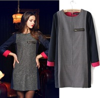 2013 autumn and winter new fashion slim basic long sleeve women's one-piece cotton dress girls' vestidos