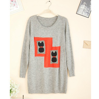 2013 autumn and winter delicate applique soft rabbit wool sweater free shipping