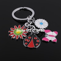 Free shipping llavero de insectos borboleta enemal butterfly key ring wholesale fashion zinc alloy colorful insect key chain