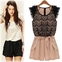 Rompers lace openwork stitching collision color ladies Siamese culottes summer women jumpsuits