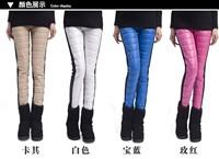 Free shipping 2014  women patchwork skinny keep warm winter down pants plus velvet thickening legging Hot sales