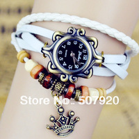 hot!!! brand new 5 types 8 color Quartz Bracelet Bangle Retro Lovely Womens Girl Weave Wrap Around Leather Watch