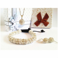 New Arrival Shamballa Set With Disco Balls Shambhala Bracelet/Earring/Necklace Pendant Jewelry Set