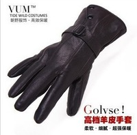New2014 HOT Winter Fashion Male winter warm men's winter cycling genuine sheep skin leather gloves motorcycle ski gloves for men