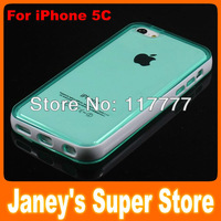 Fashion Translucent Jelly TPU Case for iphone 5C with PC Edge 10 pcs/lot Free Shipping