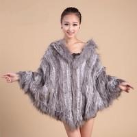 Ladies' Genuine Knitted Rabbit Fur Cape Female Warm Poncho Raccoon Fur Hoody Shawl Women Fur Pullovers Outerwear Coats VK1252