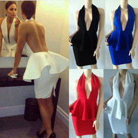 Bandage Dress G020 Halter Backless Peplum Lady Evening Dress Party Dress