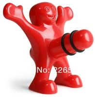 Free shipping 1Piece Happy Man Bottle Stopper  (Red/Balck-U Choose)