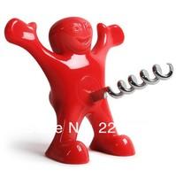 Free shipping 1Piece Happy Man Corkscrew  (Red/Balck-U Choose)