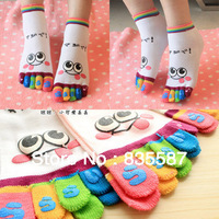 Cartoon Smile Separate Toe Socks Five Fingers Yoga Socks Women Free Shipping