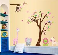 Free shipping!!  two sheets one set hot sale cartoon wall sticker animals tree wall sticker