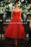 New Arrival OUMEIYA OEE710 Tea Length Lace Evening Dress 2014