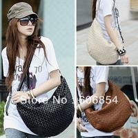 Fashion Korea Style Women PU Leather knitted Casual Single Shoulder Cross body bag