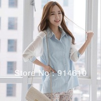 Japanese 2013 Korean new fashion women shirt Hitz chiffon blouse patchwork Chiffon Shirt 22671