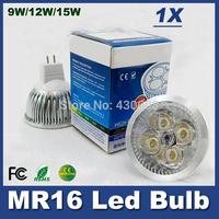 1pcs High cree led lamp Dimmable 12V MR16 led bulb 9w 12W 15w  4X3W  White Led Lamp Spotlight Lighting Downlight Bulbs