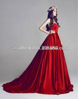 New Arrival OUMEIYA OEE656 Sweetheart Princess Satin Celebrity Red Carpet Dress 2014