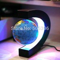 Free Shipping 1 pcs Magnetic Levitation Floationg Revolving Globe With C Shape Base LED Light Festival Gift