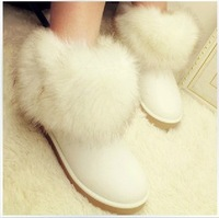 Two ways snow boots female cotton-padded shoes boots fox fur cow muscle outsole waterproof boots