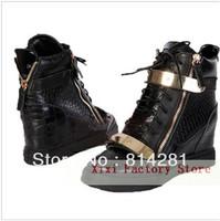 2013 Black Crocodile Leather Wedge Shoes, Women Casual Ankle Boots, Goldtone Hardware Black Crocodile 2013 autumn shoes