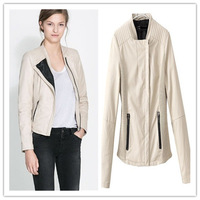 Celebrity handsome OL white jacket in 3 size high quality of faux leather&polyester lining business woman jacket winter 2013
